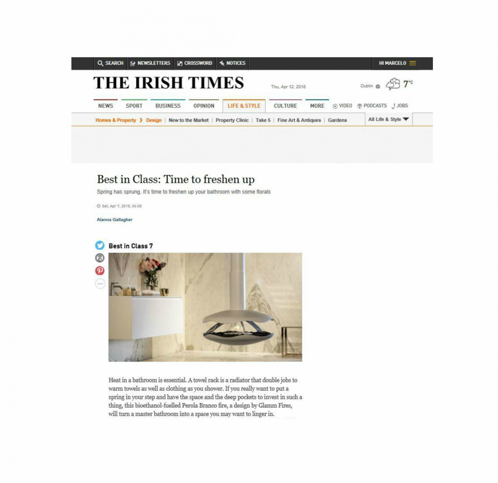 Perola was featured in The Irish Times for it´s design